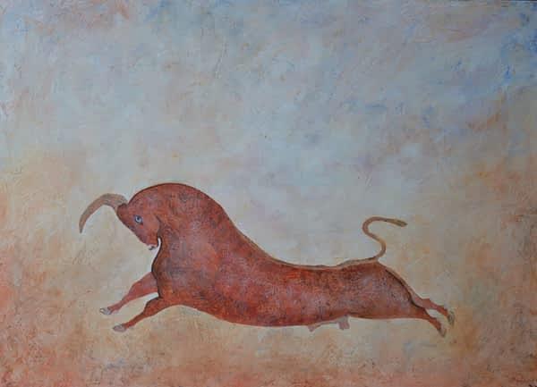 primitive bull painting