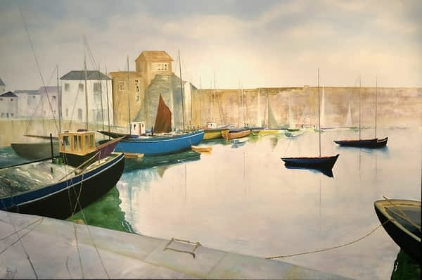 harbour oil painting